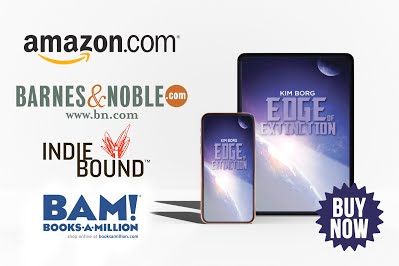 Edge of Extinction on tablet and phone with bookstore logos